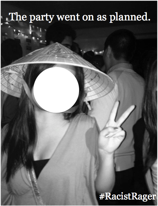 "And, of course, no ""Asian-themed"" costume is complete without a peace sign."
