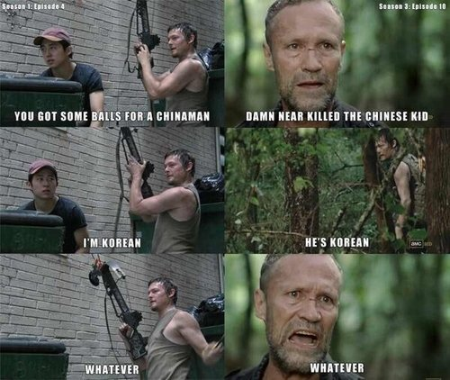 The exchange between Daryl and Merle over Glenn's race in Season 3 Episode 10 hearkens back to a similar exchange between Daryl and Glenn in the first season.