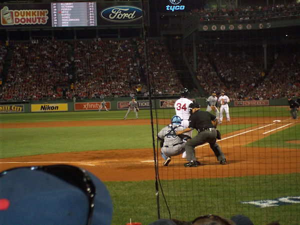 This was the view from our seats. No zoom. David Ortiz is up at bat.