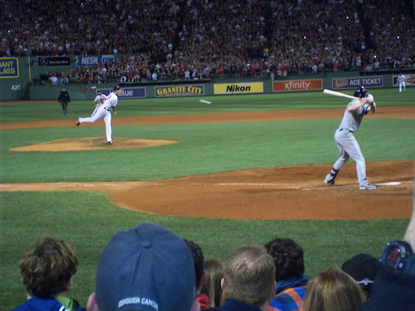 The view from our seats of Uehara's final, game-winning pitch.