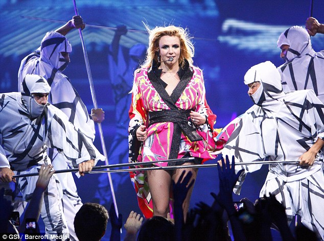 """Britney Spears in a set during her """"Femme Fatale"""" tour."""