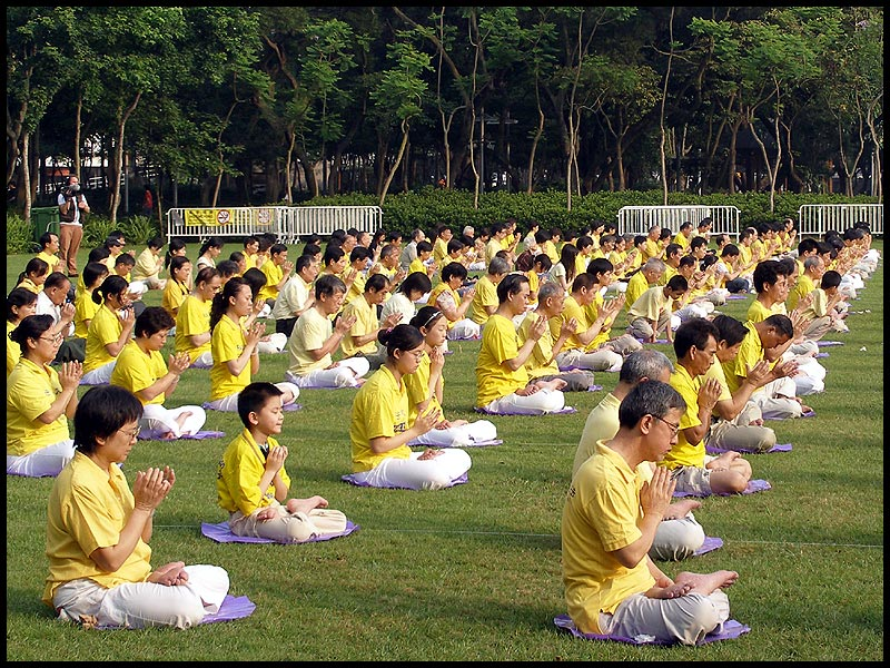 Practitioners of Falun Gong, a spiritual and meditative philosophy, in Hong Kong. Falun Gong members have been targeted by the Chinese government for staging peaceful protests critical of state policy.