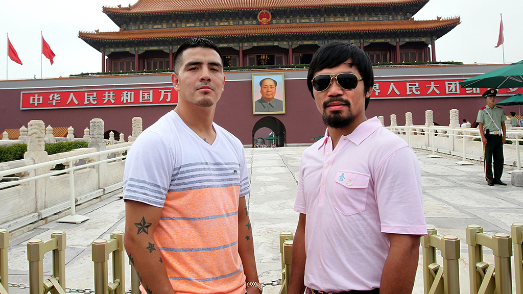 "Which has resulted in some of the most hilarious pre-fight marketing I've ever seen: Pacquiao and Rios did a Chinese press tour together and took a bunch of Instagram pictures that look like outtakes from ""Odd Couple does China""."