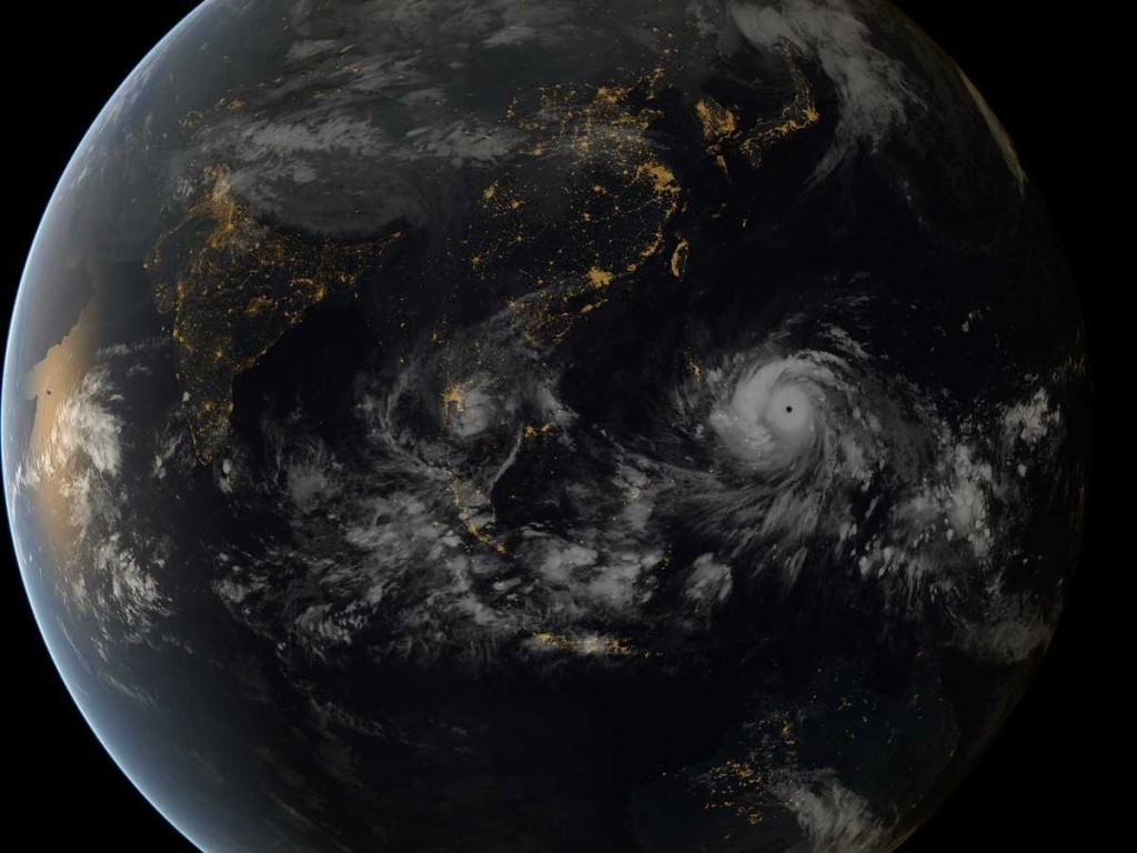A satellite image of Haiyan as it makes landfall off the Philippines yesterday.