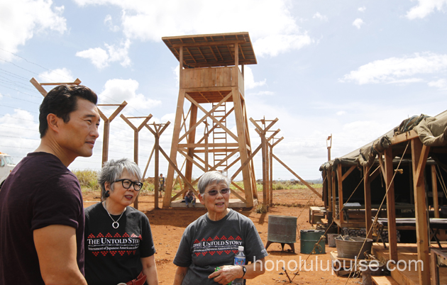 Daniel Dae Kim tours the internment camp set with members of the Japanese Cultural Center of Hawaii.