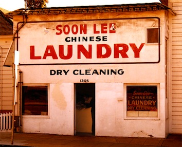 The stereotype of the Chinese laundry comes from historical anti-Chinese exclusion from other forms of work. Chinese laundries became one of the few forms of work open to early Chinese migrants, but also became an indirect way of targeting Chinese residents in California with overtly race-neutral discriminatory laws.