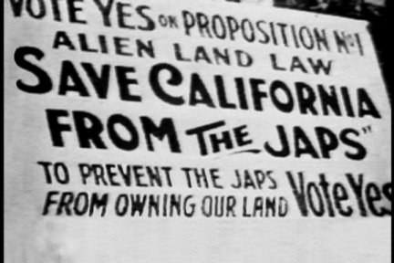 An image from 1912-1913 in support of the California Alien Land Law that prohibits Asian migrants from owning property. It passed.
