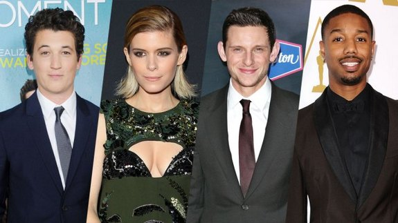 From left to right: Miles Teller (Reed Richards), Kate Mara (Sue Storm), Jamie Bell (Ben Grimm) and Michael B. Jordan (Johnny Storm). (Photo credit: Variety)