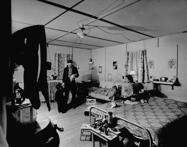 Living quarters of a Japanese American family interned at the Heart Mountain alien relocation center.