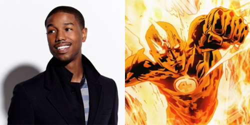 Michael B. Jordan (left) and The Human Torch (right).