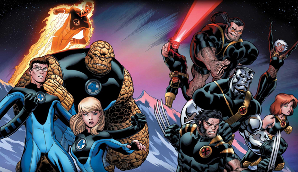 The Ultimate Fantastic Four team, pictured on the left.