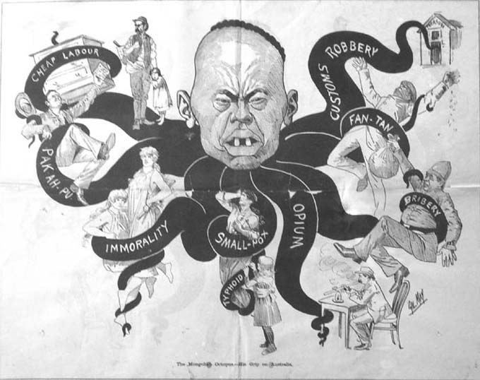 "A 19th century cartoon depicts the many reasons to fear the Yellow Peril, including ""immorality""."