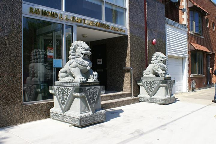 Guardian lions that were donated to the Chinese-American Museum of Chicago last year, and that were vandalized this month. Photo credit: CCAM