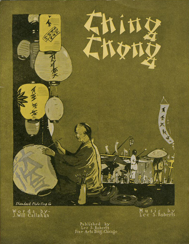 "The record cover of ""Ching Chong"" a1917 song about a character named Mr. Ching Chong arising out of the Tin Pan Alley repertoire."