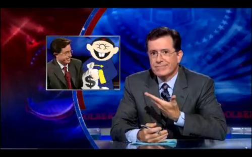 "Stephen Colbert: ""Now folks, you are here on an historic night. The Report has been on the air almost seven years now and it has gone through a lot of changes. I mean, who could forget year one and my animated antigovernment sidekick, The Spends Too Much Chinaman. It was a different time. We can't judge them."""