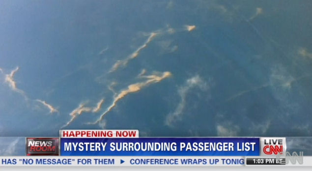 Screen capture from CNN of oil slick that may serve as a clue to the whereabouts of Flight MH370.