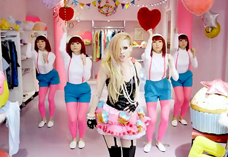 "A screen-capture from Avril Lavigne's new music video, ""Hello Kitty""."