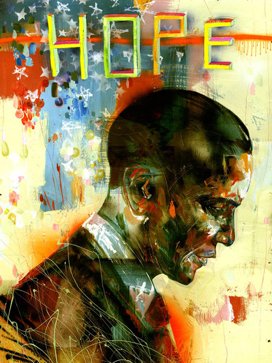 David Choe's portrait of then-Senator Barack Obama, which was chosen to hang in the White House.