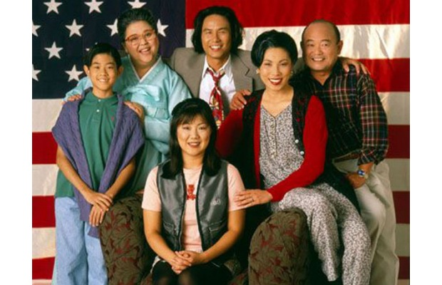 "Magaret Cho and the rest of the cast of ""All-American Girl"", the first Asian American primetime sitcome which debuted in 1994."