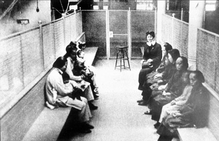 Chinese and Japanese women are detained in immigration barracks in the 1920's.