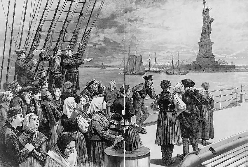Irish American immigrants arrive by boat to Ellis Island off of New York City in the 19th century.