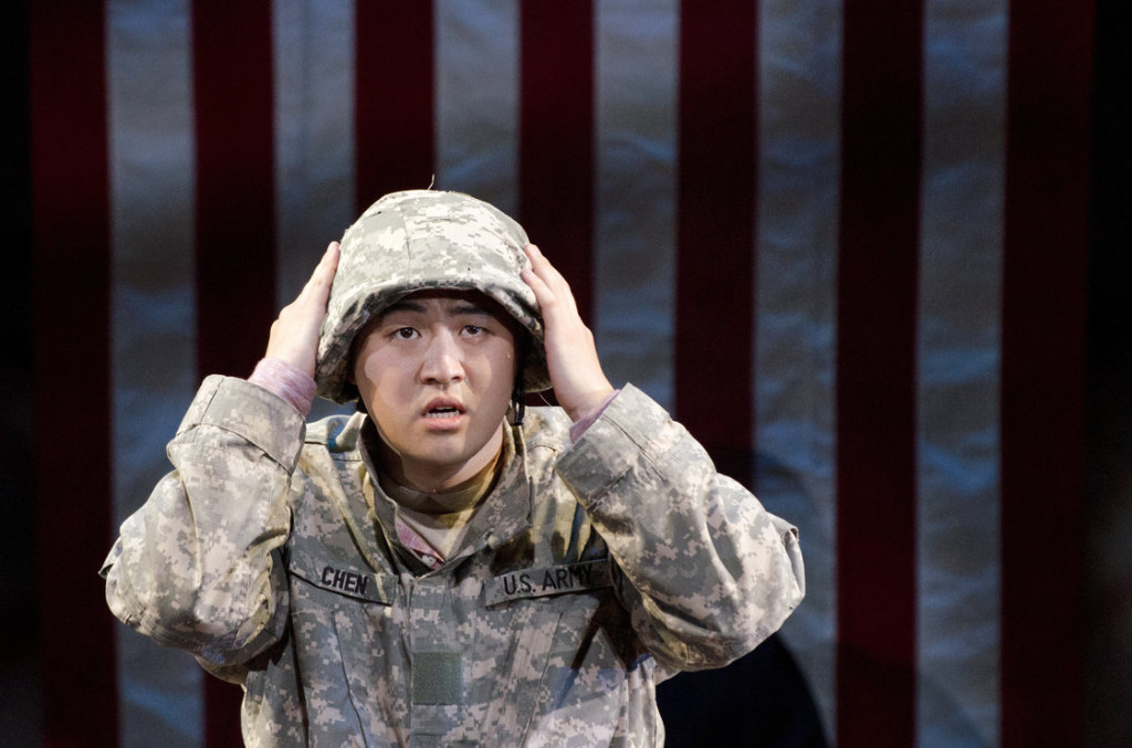 "Andrew Stenson plays Pvt. Danny Chen in David Henry Hwang's newest opera, ""An American Soldier"". (Photo credit: Sarah Tilotta / NPR)"