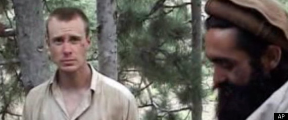 Sgt. Bowe Bergdahl with his Taliban captors in a screen capture from a video.
