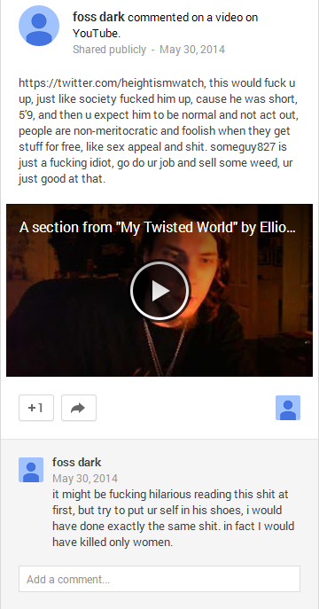Screen capture from Foss Dark's Google+ account, where he threatens to target women.