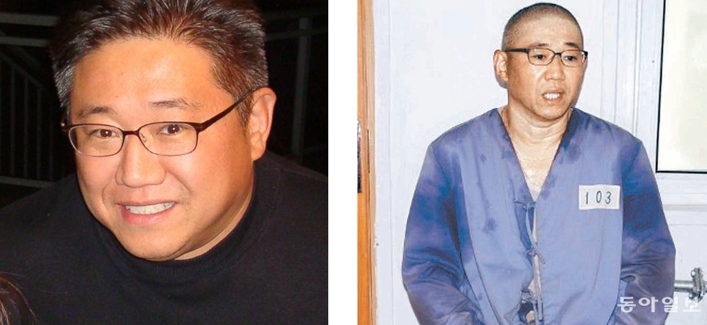 Kenneth Bae before his imprisonment (left) and after a year in a North Korean labour camp where he is being held captive as a political prisoner (right).