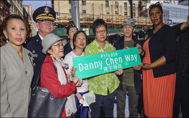 Chen's mother, Su Zhen Chen, at the recent re-naming ceremony in NYC's Chinatown, honouring her son, Pvt. Danny Chen. (Photo credit: Jeff Bachner / Daily News)