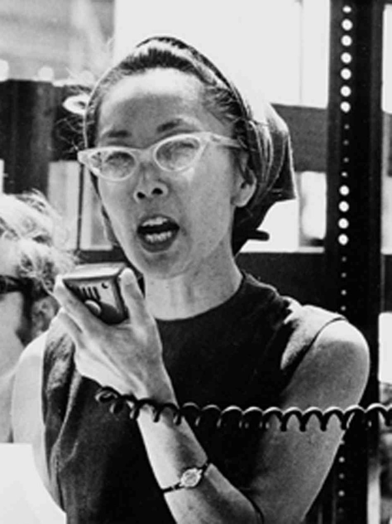 Yuri Kochiyama speaks at an anti-war rally in Central Park in 1968.