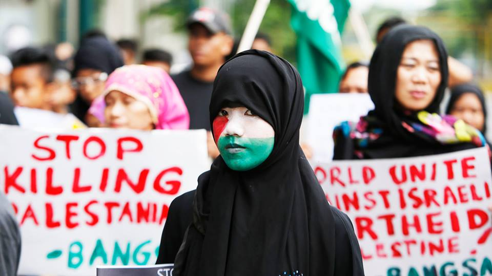Protesters in the Phillipines protest in solidarity with Palestinians. Photo credit: Facebook.