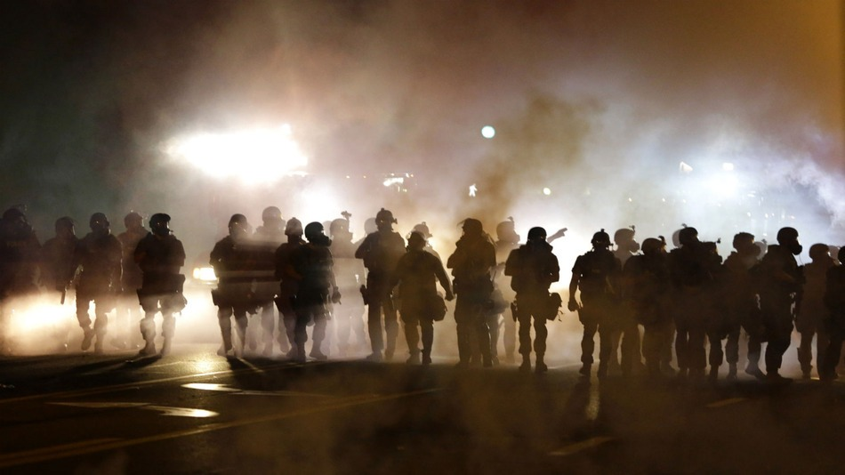 The streets of Ferguson, occupied by Ferguson police department under informal martial law.