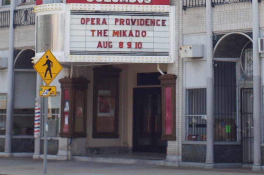"The marquee at the Providence-area Columbus Theatre, where ""The Mikado"" was put on with actors in yellowface earlier this month. (Photo credit: James McShane)"