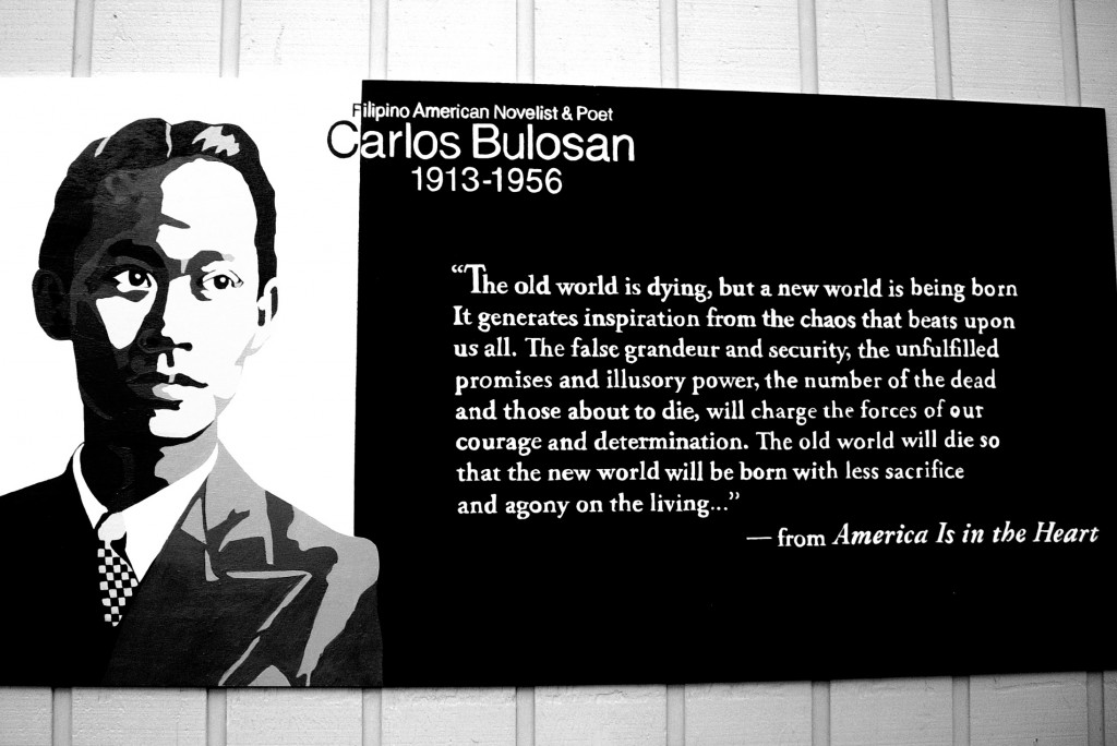 Art commemorating poet and labour activist Carlos Bulosan.