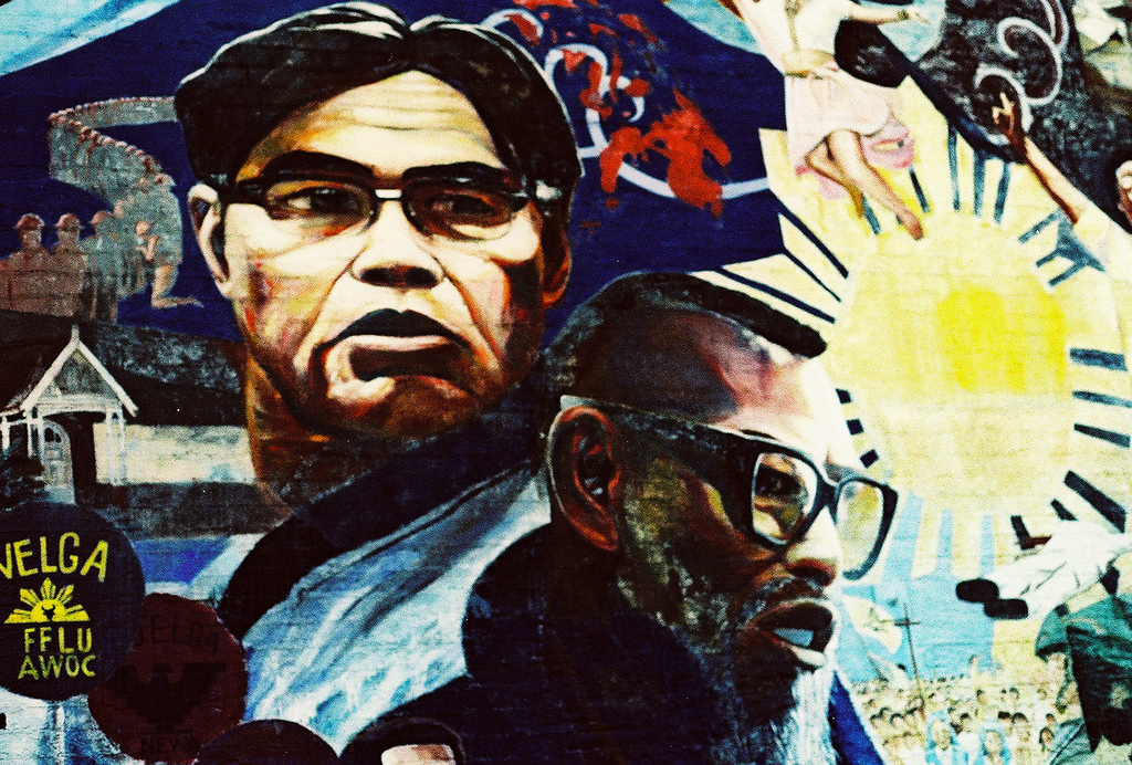 A Los Angeles-area mural depicting Filpino American labour leaders Philip Vera Cruz and Larry Itliong. (Photo credit: Flickr)