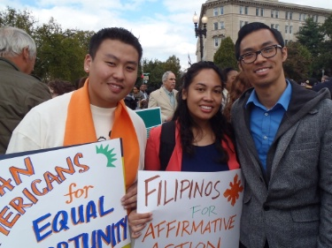 Asian American supporters of affirmative action at a  recent rally. (Photo credit: OCA)