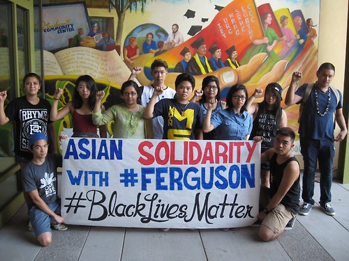 Students at UC Davis tweeted this picture of themselves in solidarity with Ferguson protesters.