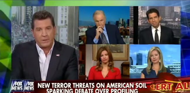 Fox News anchor Eric Bolling was joined by four guests to argue in favour of anti-Muslim racial or religious profiling.