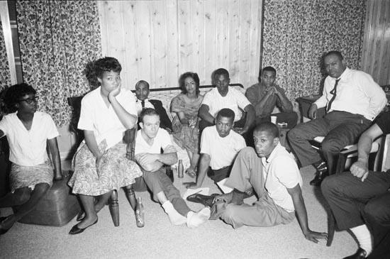 Freedom Riders at the home of Dr. Richard Harris (Photo from: PBS).