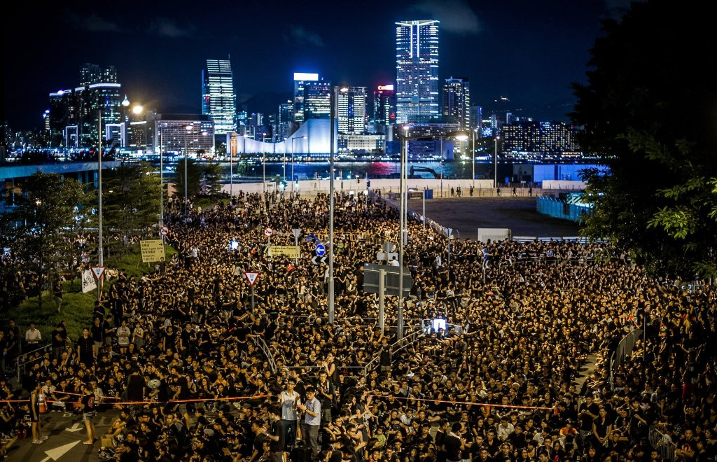 Thousands of protesters gather in the Occupy Central protest.
