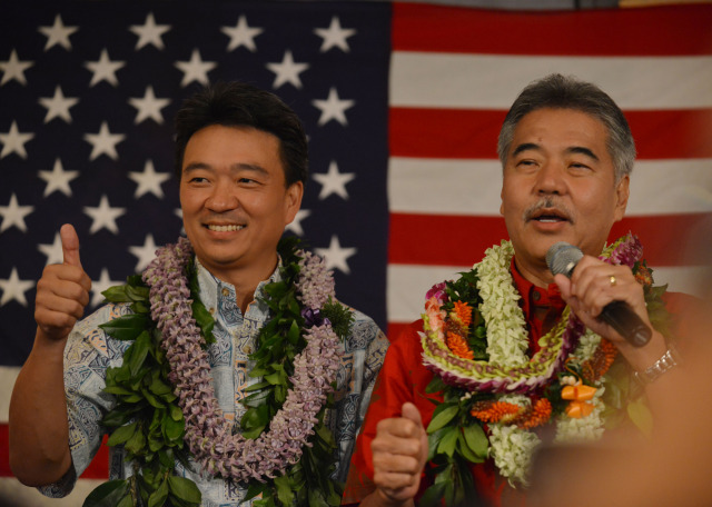Governor-elect David Ige greets supporters last night with Lt. Governor-elect Shan Tsutsui. (Photo credit: Civil Beat / Cory Lum)