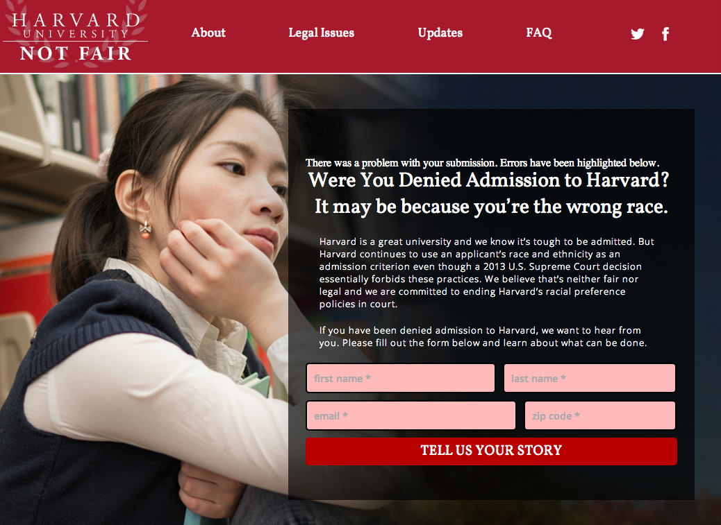 A screenshot of a website set up by conservative anti-affirmative action lobbyist Edward Blum last year to recruit potential Asian American plantiffs in a new lawsuit challenging affirmative action policies.