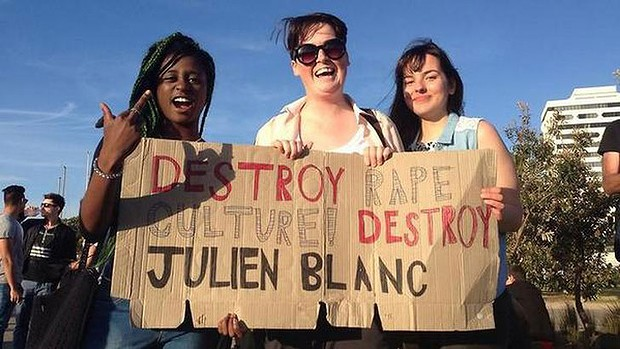 Australian protesters speak out against Julien Blanc.