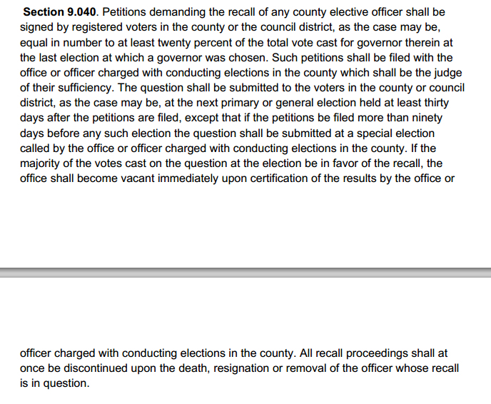 The appropriate section of Article IX of the St. Louis County Charter.