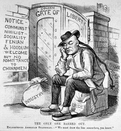 A 19th century political cartoon depicting Chinese Exclusion.