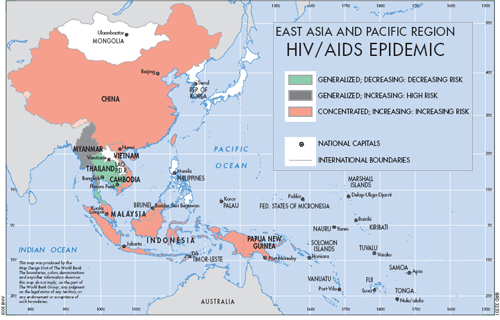 In the 1990's, the World Bank prioritized fighting the  HIV/AIDS epidemic throughout parts of East Asia. This is a graphic they generated to visualize the disease in the region.