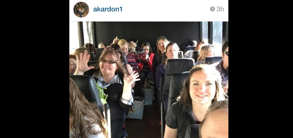 A photo uploaded to Instagram of bloggers boarding the #ABCTVEvent bus.