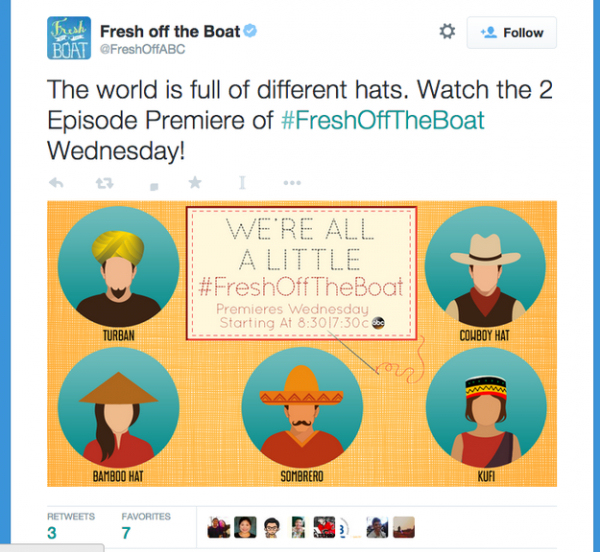 "A since-deleted tweet from the marketing campaign behind ""Fresh Off The Boat""."