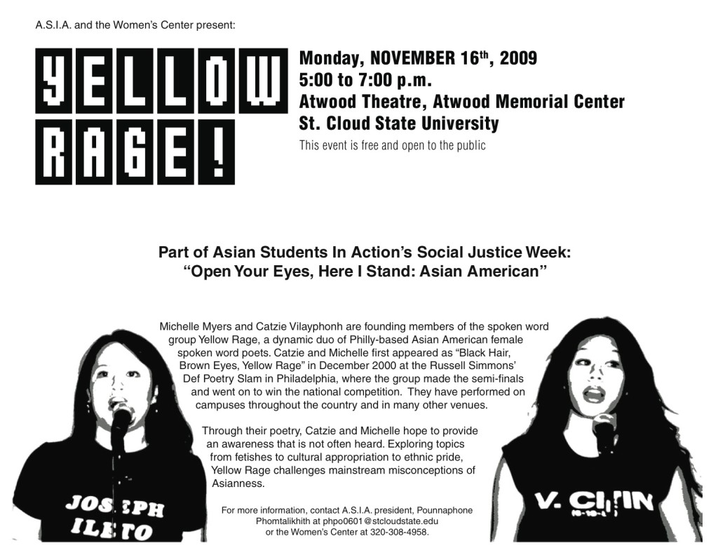 A poster advertising an event featuring the spoken word group, Yellow Rage.